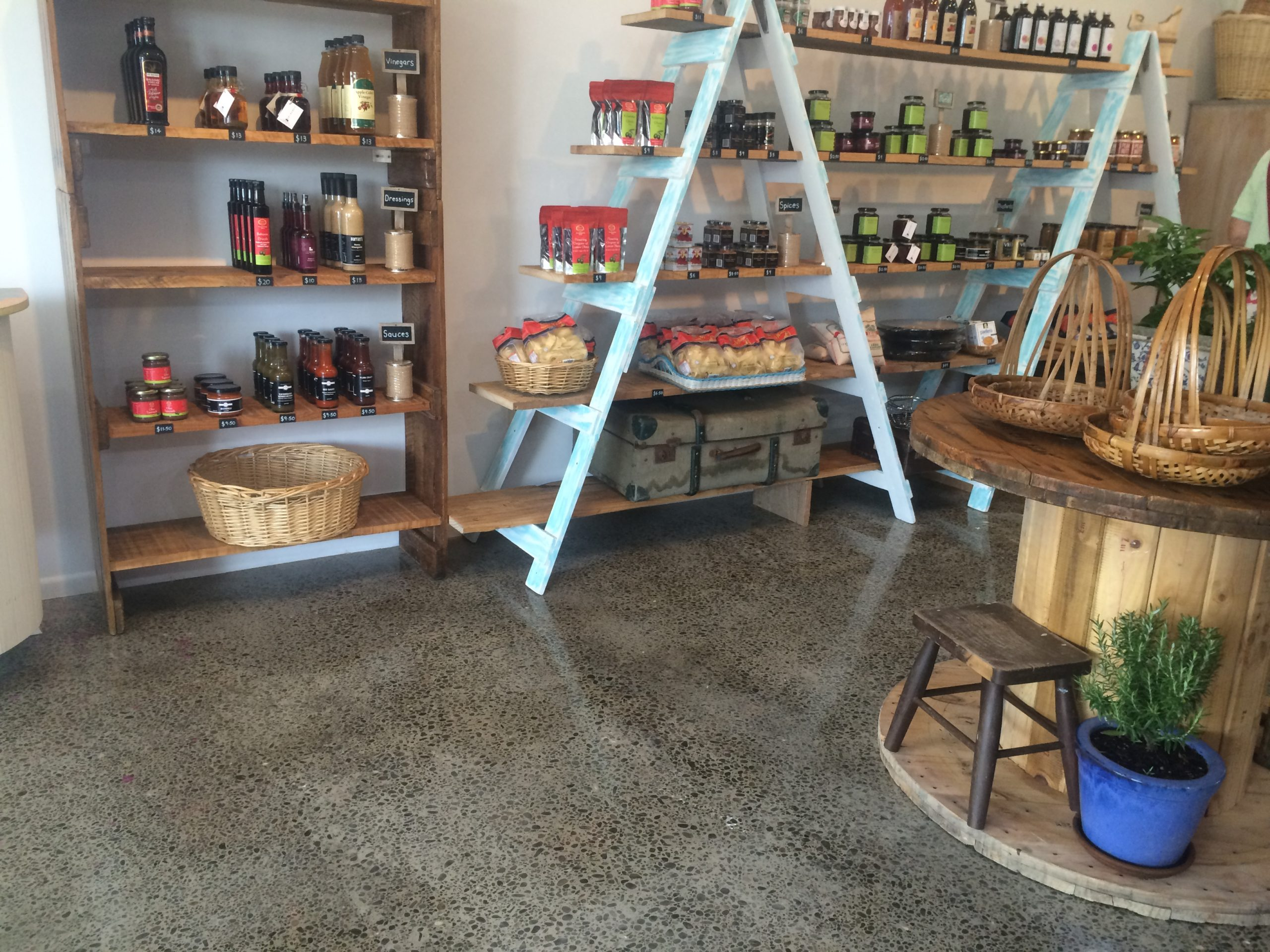 The Daly Larder - Full grind and polish of old industrial concrete slab